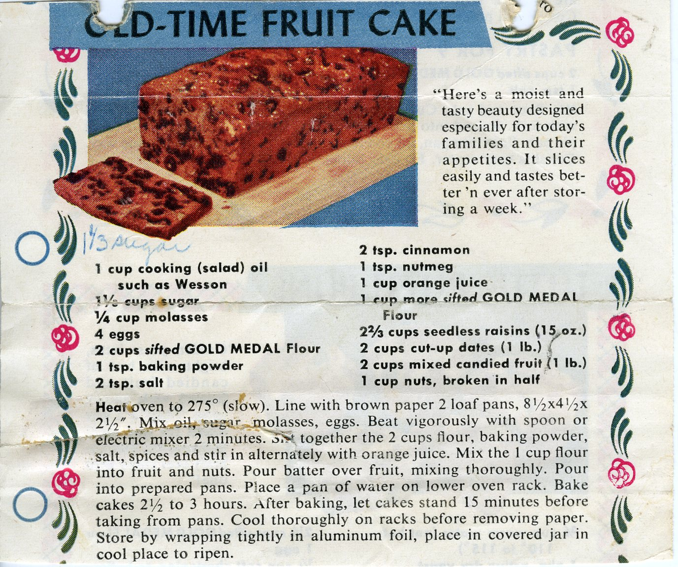 Old Fashion Fruit Cake Recipe