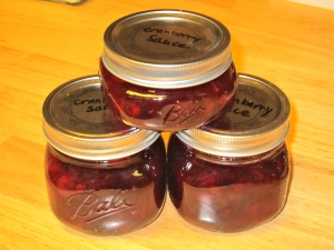 Jars of cranberry sauce