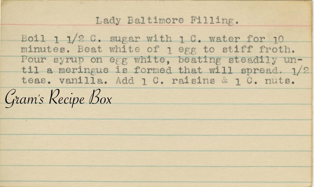 Lady Baltimore Filling | Gram's Recipe Box