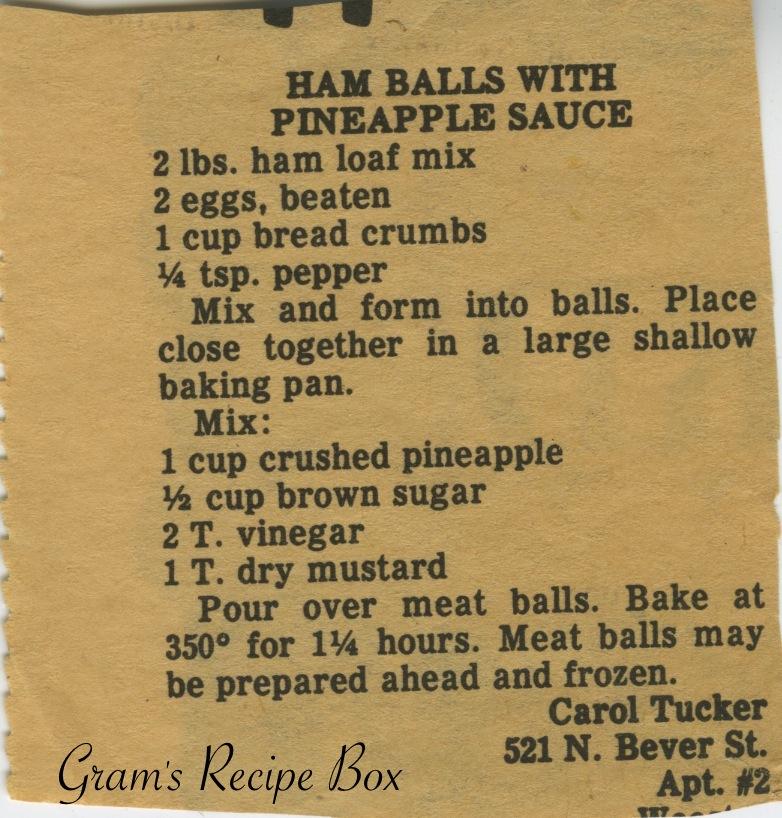 Ham balls with pineapple sauce | Gram's Recipe Box