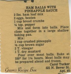 Ham balls w pineapple sauce